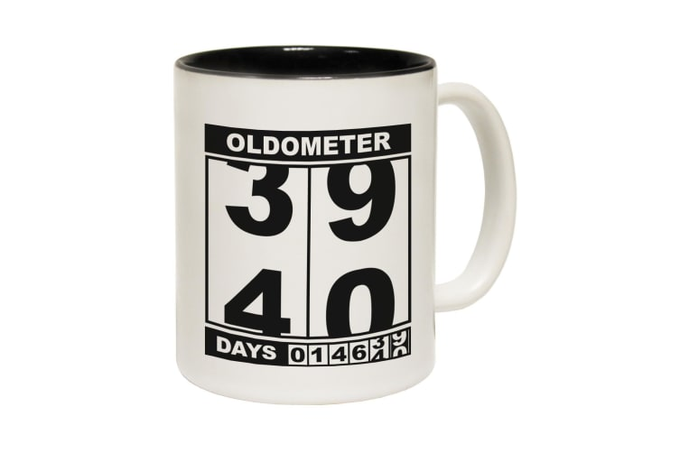 123T Funny Mugs - Oldometer 39 40 - Black Coffee Cup