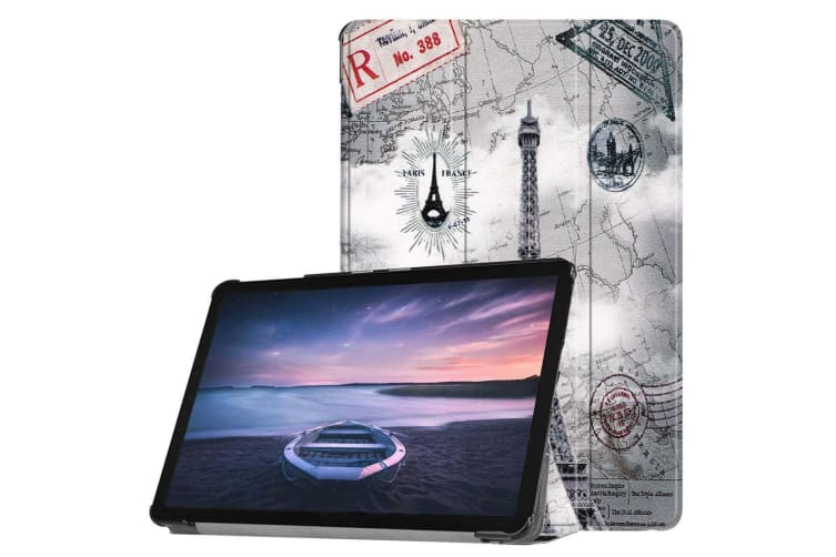 For Samsung Galaxy Tab S4 10.5in Case Retro Tower Printed PU Leather Folio Cover