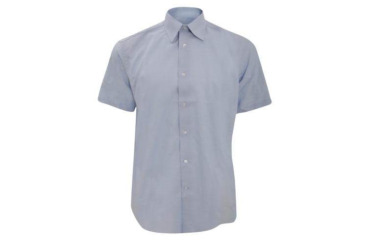 Russell Collection Mens Short Sleeve Easy Care Tailored Oxford Shirt (Oxford Blue) (18inch)