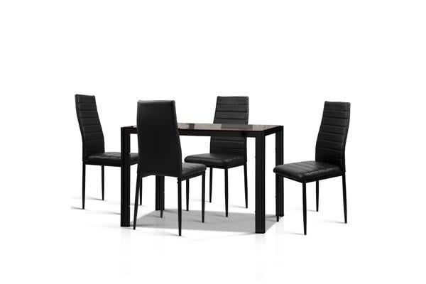 Artiss Astra 5-Piece Dining Table and 4 Chair Sets Glass Leather Seater Black