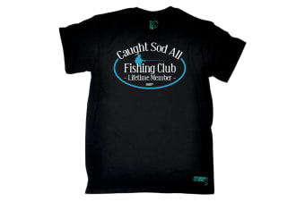 Drowning Worms Fishing Tee - Caught Sod All Club - (Small Black Mens T Shirt)