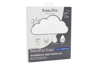 Bubba Blue Breathe Easy 85cm Cotton Waterproof Sheet Protector Cot/Toddler Bed