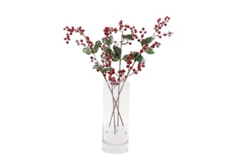4x 61cm Christmas Red Berry Holly w Snow Branch Artificial Flower Pick Wreath S