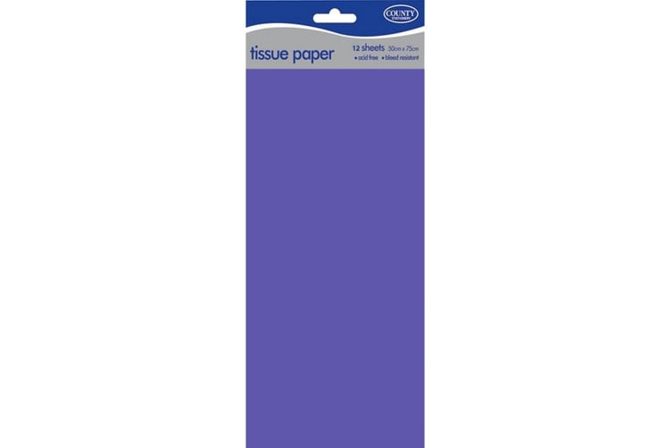 County 10 Sheets Plain Tissue Paper Pack Of 12 (Blue) (One Size)