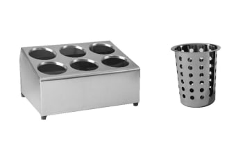 Stainless Steel Cutlery Holder With Baskets - 6 Holes