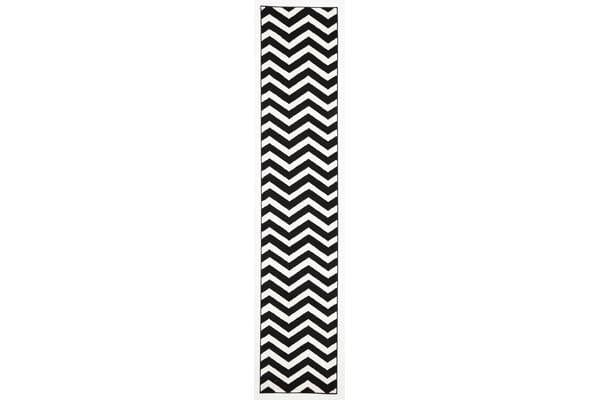 Modern Chevron Design Rug Black White 400X80cm