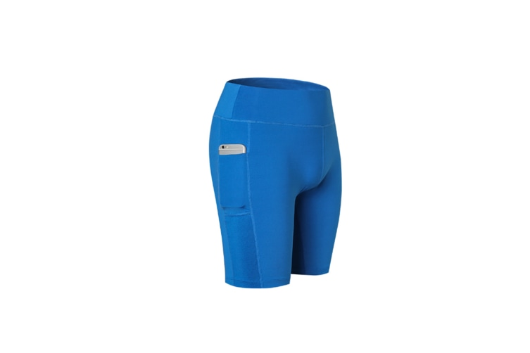 Women'S Stretch Running Workout Shorts With Pocket - Blue Blue M