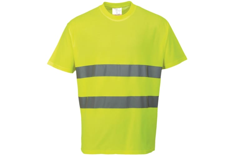 Portwest Cotton Comfort Reflective Safety T-Shirt (Pack of 2) (Yellow) (M)