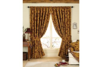 Riva Home Zurich Pencil Pleat Curtains (Gold)