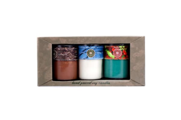 Terra Essential Scents Hand-Poured Soy Candles Gift Set: Bayberry + Coffee Spice + Winter Solstice (3pcs)