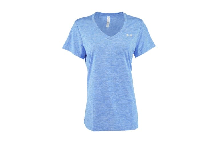 Under Armour Women's Twisted Tech V-Neck (Shirt (Blue/Steel, Size L)