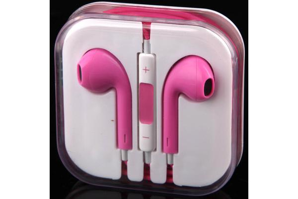 Handsfree Headphone Earphone W/ Mic For Apple Iphone 5 4 4S 3Gs Ipad Ipod Pink