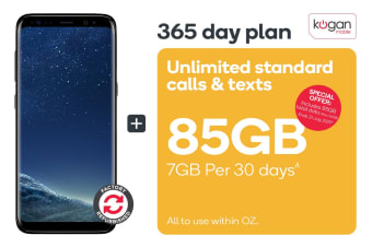 Samsung Galaxy S8 Refurbished (64GB, Midnight Black) + Kogan Mobile Prepaid Voucher Code: SMALL (365 Days | 7GB Per 30 Days)