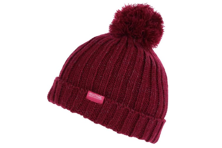 Regatta Childs/Kids Unisex Luminosity III Reflective Bobble Hat (Beetroot) (7-10 Years)