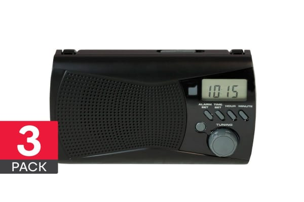 3 Pack Dick Smith AM/FM Portable Radio with Digital Alarm Clock