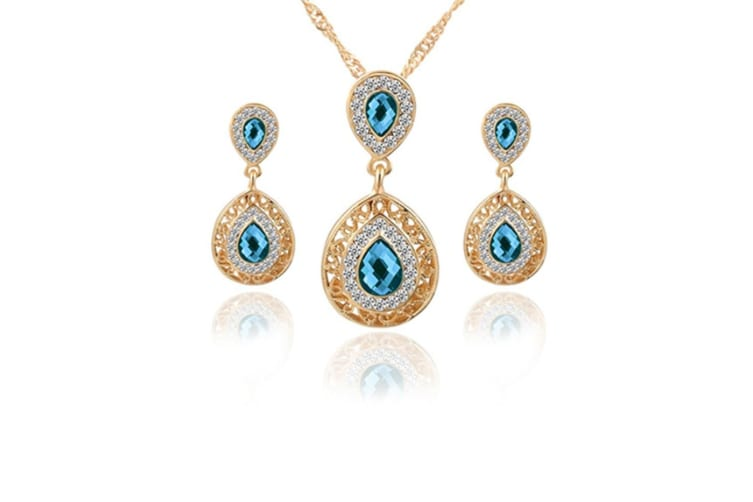 Women Crystal Rhinestone Gold Plated Necklace Earring Jewelry Set Blue