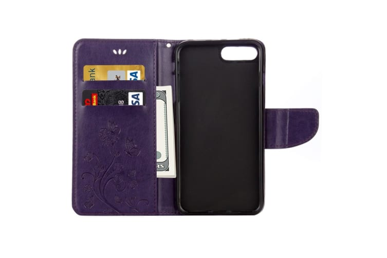 For iPhone 8 PLUS 7 PLUS Wallet Case Butterflies Emboss Leather Cover Purple