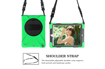 For iPad 2018 2017 9.7-inch Green Shoulder Hand-strap Armour Case