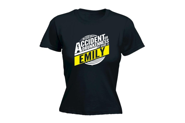 123T Funny Tee - Emily In Case Of Accident Or Drunkenness - (Large Black Womens T Shirt)