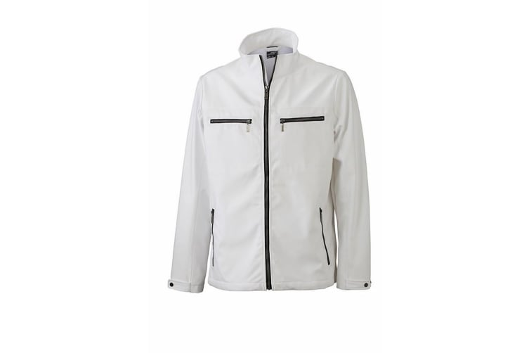 James and Nicholson Mens Tailored Softshell Jacket (White) (3XL)