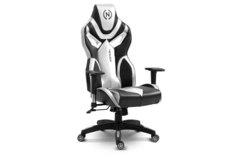 Home Office Computer Gaming Chair w/ Footrest and Tilt - Silver/Black