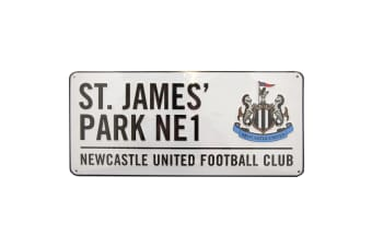 Newcastle United FC Official Metal Stadium Street Sign (White)