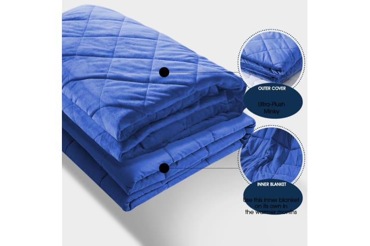 Dreamz 7KG Anti Anxiety Weighted Blanket Gravity Blankets Royal Blue Colour
