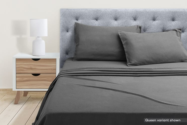 Ovela Flannelette Bed Sheet Set (Single, Dark Grey)