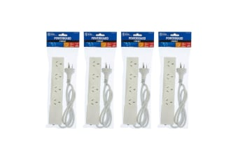 4PK The Brute Power Co 4 Socket 1m Cord/Cable Port Board 10A Outlet/Strip Switch