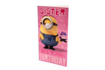 Despicable Me Minion Sister Birthday Card (Pink/Yellow/Blue)