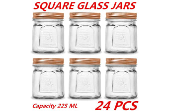 24 x 225ml Square Vintage Glass Jar Rose Gold Lid Kitchen Food Storage Jars Canister