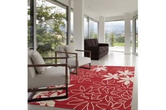 Maple Leaf Design Rug Red