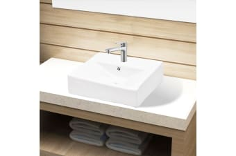 vidaXL Ceramic Bathroom Sink Basin Faucet/Overflow Hole White Rectangular