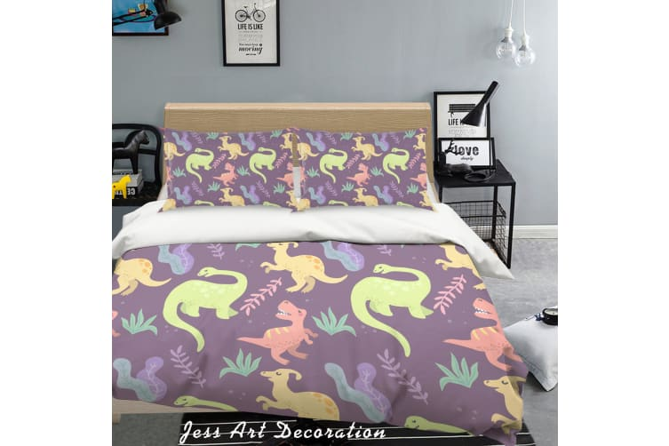 3D Colorful Dinosaur Pattern Quilt Cover Set Bedding Set Pillowcases 18-Queen