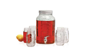Avanti Glass Beverage Water Dispenser 5.7L Set of 6 470ml Mason Jars Party Drink
