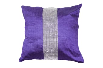 Panache Eclat Diamante Strip Cushion Cover In 8 Colours (Cushion Pad Not Included) (Purple)