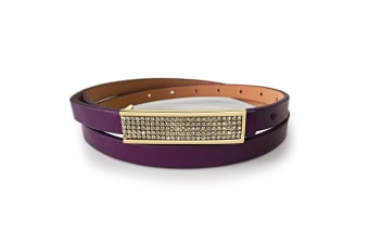 Leather Belt With Yellow Gold Buckle Silver-Leather/Purple