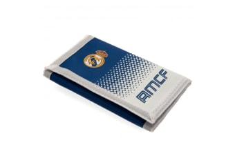 Real Madrid FC Touch Fastening Fade Design Nylon Wallet (White/Blue)