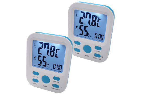 2X Electronic Digital Thermometer Hygrometer Alarm Lcd Clock ?C/?F %Rh Blue