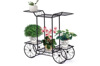 New Outdoor Indoor Flower Pots Plant Stand Garden Metal Corner Shelves 9 Designs  -  Type E in Black