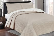 Ardor Boudoir Reversible Coverlet  (White/Latte)