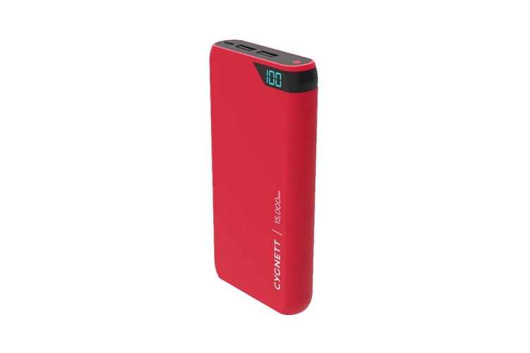 Cygnett ChargeUp Boost 15,000 mAh Dual USB 2.4A Power Bank - Red (CY2508PBCHE)