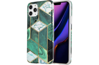 Marble Pattern Soft TPU Case Elegant Stylish Shockproof Silicone Cover for iPhone X/XS-Green