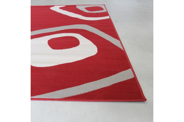 Retro Squares Rug Red Black Grey 330x240cm