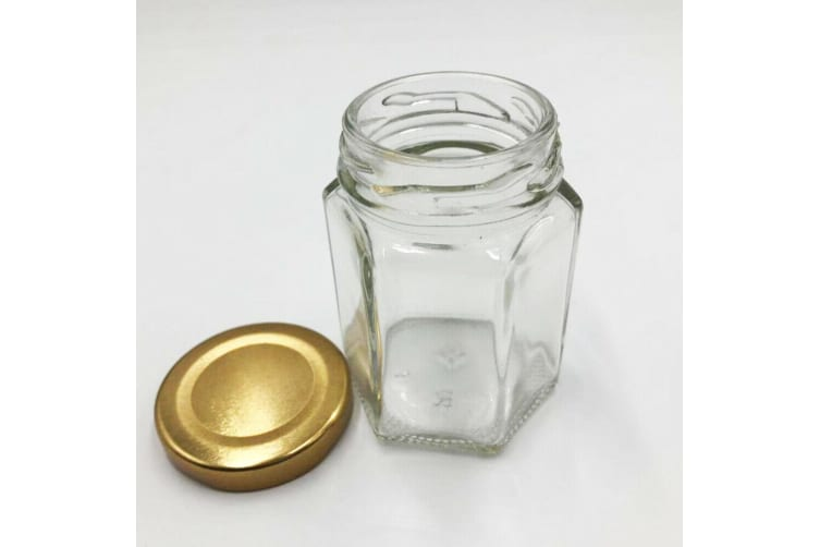 24 x 110ML Hexagon Shaped Clear Gold Screw Lid Lolly Storage Glass Jar Favor Party