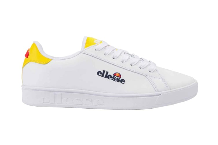 Ellesse Women's Campo Emb Leather AF Shoe (White/Cyber Yellow, Size 8 US)
