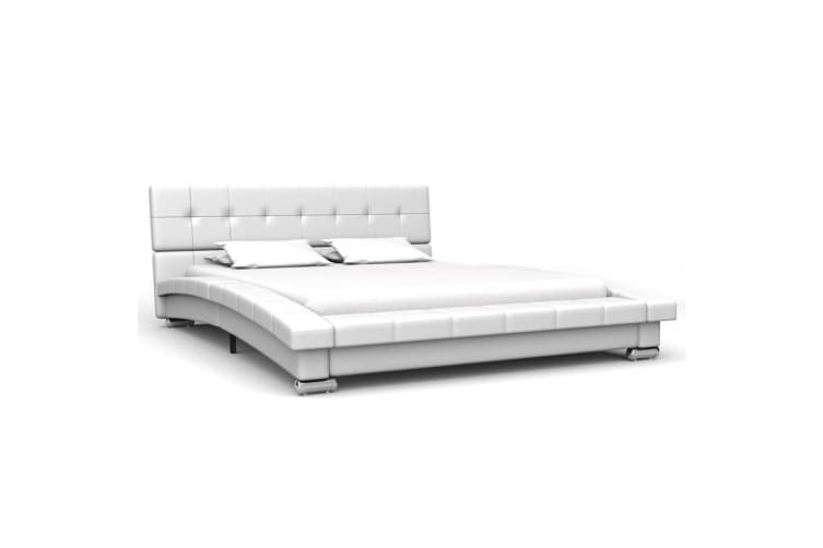 vidaXL Bed Frame White Faux Leather 106x203 cm  King Single