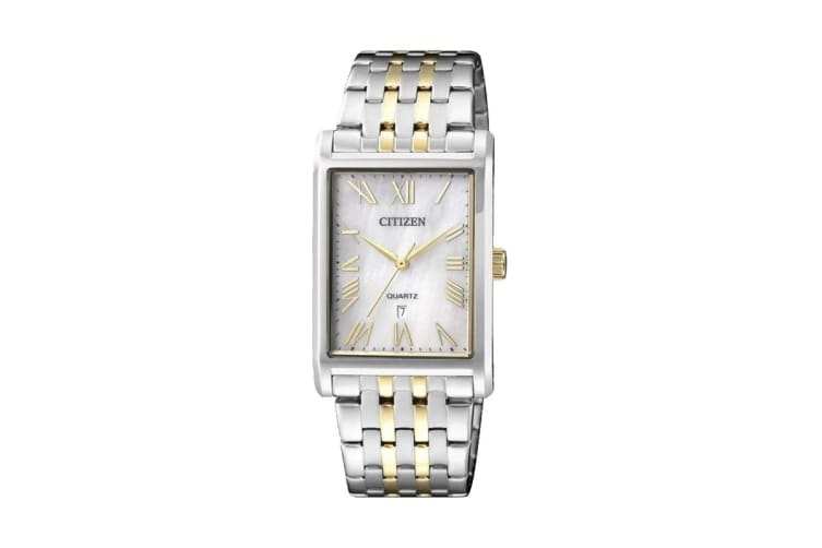Citizen Men's Analog Quartz Watch with Push Button Buckle & Date - Stainless Steel/Gold/Pearl (BH3004-59D)