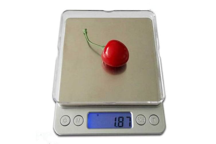 1Kg Stainless Steel Electronic Scale Clear Tray 0.1G Graduation Backlit Lcd Compact