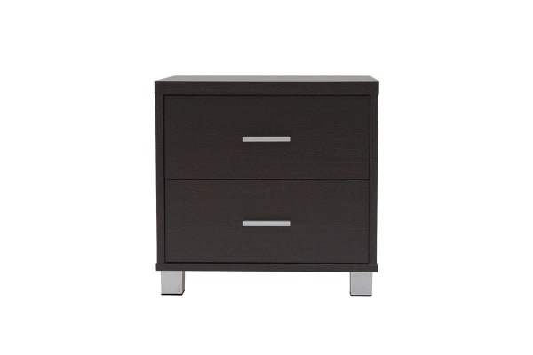 Ovela 2 Drawer Bedside Table with Aluminium Handles - Oxford Collection (Dark Brown)